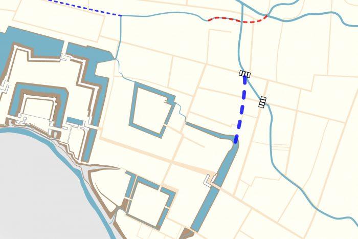 絵図に描かれた水路を再現
