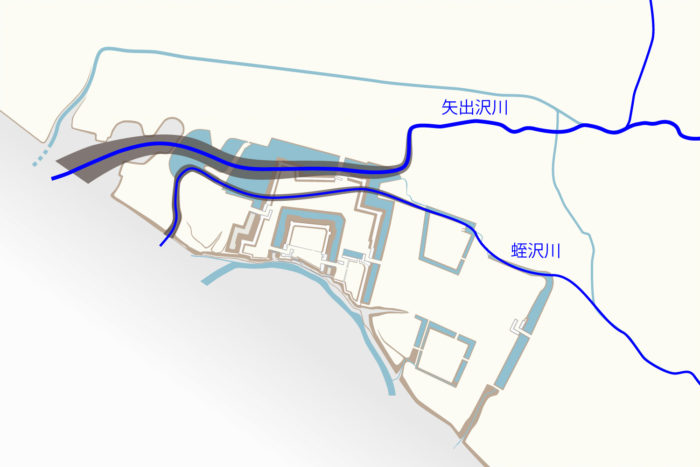 旧矢出沢川の流路①