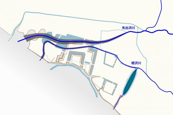 矢出沢川と蛭沢川、二つの流路