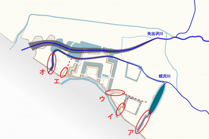 蛭沢川の河道跡?