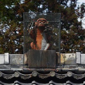 拝殿屋根の猿像